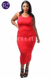 Plus Size Side Ruched Solid Midi Dress
