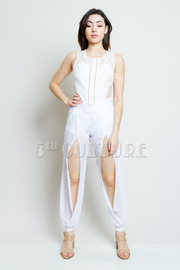 Solid Chiffon Slit Caged Pants