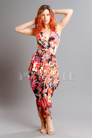 Leaf Print  V-Neck Draped Tulip Dress