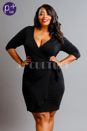 Plus Size Solid V-Neck Wrap Mini Dress