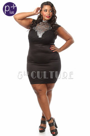 Plus Size Metallic Embroidered Lace Bodycon Dress