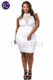 Plus Size Metallic Embroidered Lace Bodycon Dress