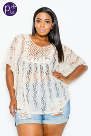Plus Size Solid Loose Fit Lacey Blouse
