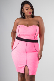 Plus Size Sweetheart Front Slit Midi Dress