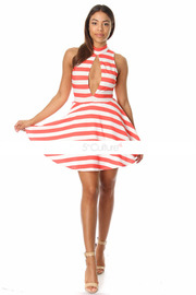 Peep Hole Striped Pleated A-Line Dress