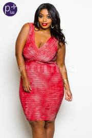 Plus Size V-Neck Striped Fitted Dress