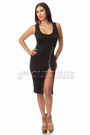Latched Solid SLeeveless Fitted Dress