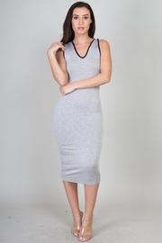 Contrast Trim Sleeveless Hooded Midi Dress