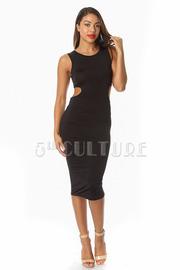 Cross Back Solid Midi Dress