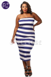 Tube Top Striped Midi Dress