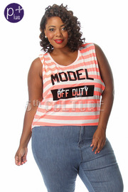 Plus Size Model Off Duty Striped Sleeveless Top