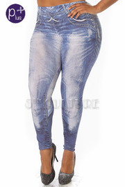 Plus Size Washed Print Jeggings