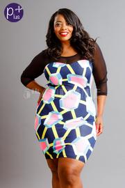 Plus Size Geo Print Mesh Sleeveless Bodycon Dress