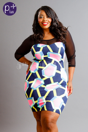 Plus Size Geo Print Mesh Sleeveless Bodycon Dress