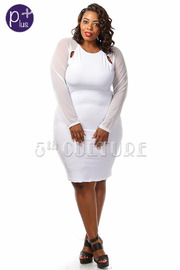 Plus Size Long Sleeve Mesh Solid Knee Length Dress