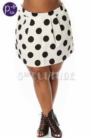 Plus Size Pleated Polka Dot Skirt
