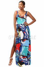 Printed Sleeveless Slit Maxi Dress