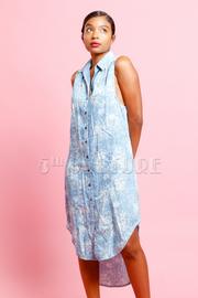 Mineral Wash Sleeveless Shirt Dress