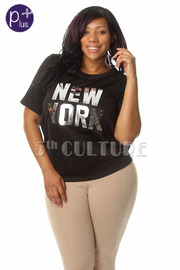 Plus Size New York  Short Sleeve Top