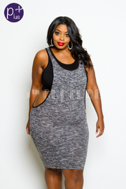 Plus Size Contrast Knit Fitted Dress w/ Under Crop Top Attachment