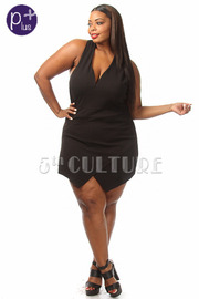 Plus Size Sleeveless Solid Romper