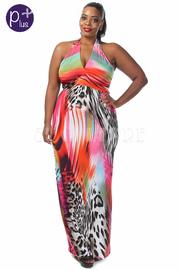 Plus Size Mix Print Halter Top Maxi Dress