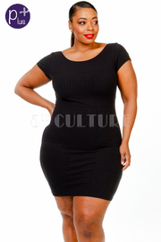 Plus Size Solid Cut Out Mini Dress
