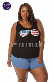 Plus Size U.S Shades Graphic Tank