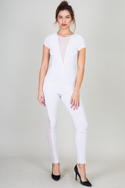 Mesh Insert Short Sleeve Solid Catsuit