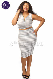 Plus Size Striped Ribbed Knit Crop Top & Pencil Skirt Set