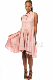 Solid Sleeveless Button Up a-Line Dress