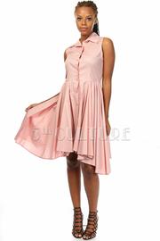 Solid Sleeveless Button Up a-Line Dress