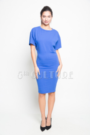 Solid Short Sleeve Fitted Knee Length Dress