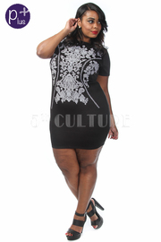 Plus Size Baroque Bodycon Short Sleeve Dress