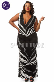 Plus Size Abstract Print Sleeveless V-Neck Maxi Dress