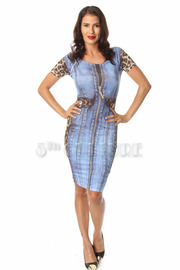 Animal Mix Denim Print Short Sleeve Bodycon Dress