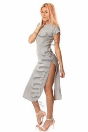 Solid Short Sleeve Double Slit Dress