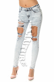 Mid Waist Acid Washed Ripped Skinny Jeans