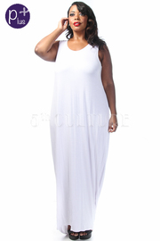 Plus Size Scoop Back Solid Tank Maxi Dress