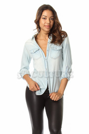 Double Pocket Button Down Denim Button Down Top