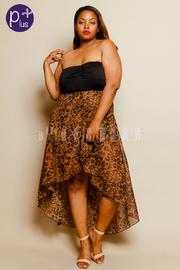 Plus Size High Low Leopard Print Dress