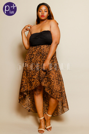 Plus Size High Low Leopard Print Dress