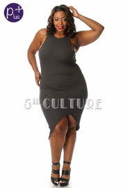 Plus Size Ribbed Sleeveless High Low Fitted Dress