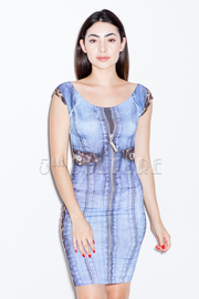 Distressed Denim Print Mini Dress
