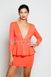 Solid V-Neck Peplum Long Sleeve Mini Dress