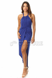 Halter Top Solid Asymmetrical Draped Dress