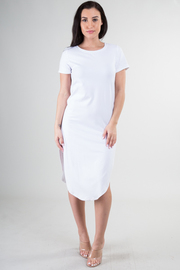 Double Slit Short Sleeve Knee Length Dress