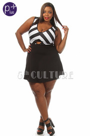 Plus Size Striped Key Hole A-Line Dress