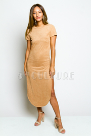 Double Slit Suede Dress