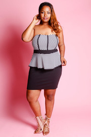 Plus Size Striped Strapless Peplum Dress
